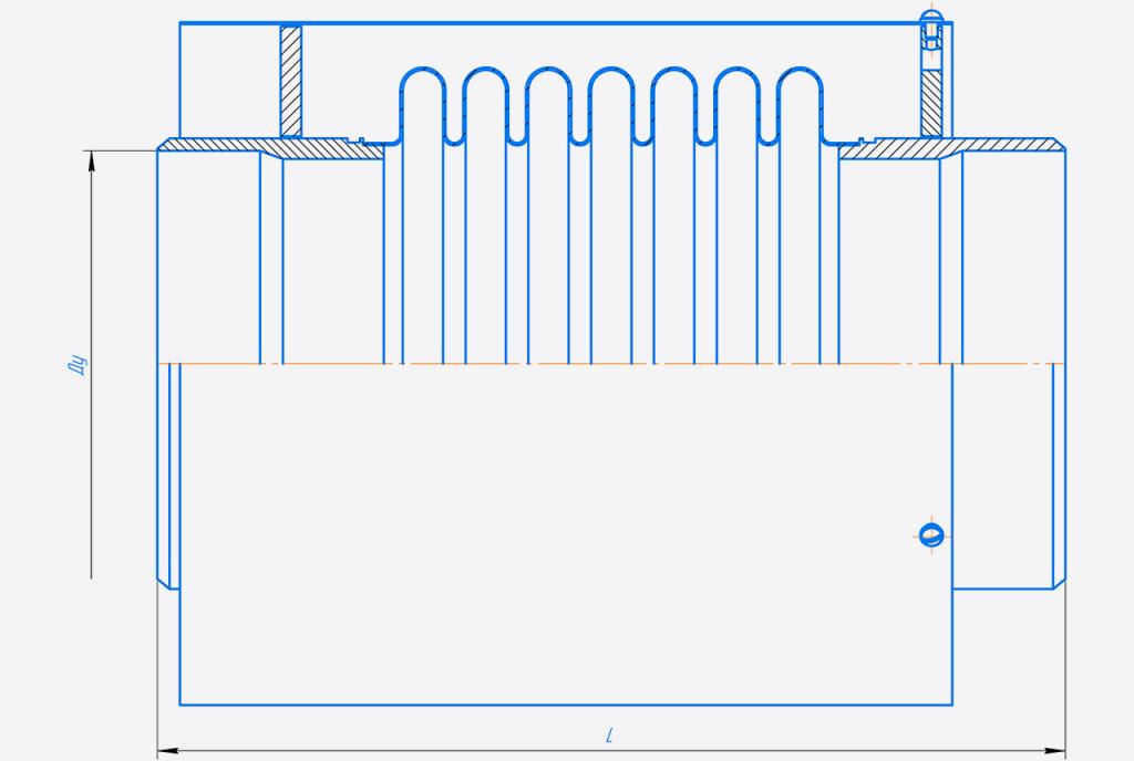 КСО200-10-80.00.000-Компенсатор сильфонныи осевои односекционныи Ду150-400.png