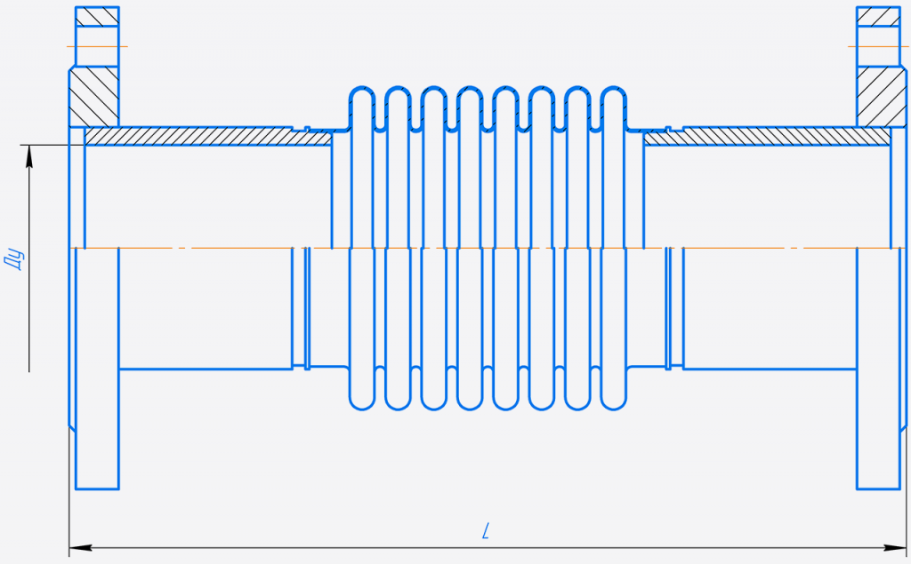 КСОФ 100-10-50.000-Компенсатор сильфонный осевой фланцевый односекционный.png