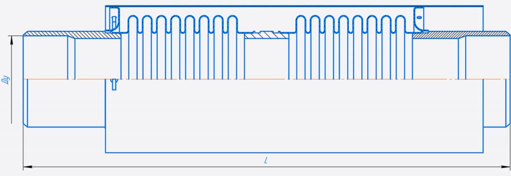 КСО100-10-100.00.000-Компенсатор сильфонныи осевои двухсекционныи Ду 50-125.png