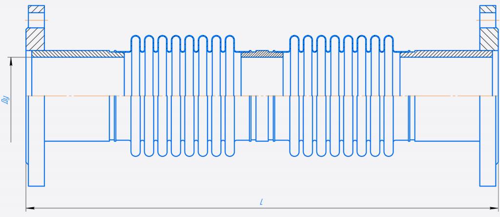 КСОФ 100-10-100.000-Компенсатор сильфонный осевой фланцевый двухсекционный.png
