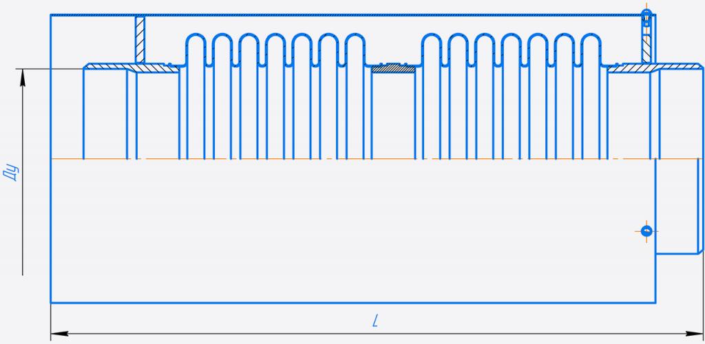 КСО 200-10-160.00.000-Компенсатор сильфонныи осевои двухсекционныи Ду150-400.png